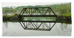 Beach Towel featuring the photograph Vermont Steel Railroad Trestle On A Calm  Misty Morning by Sherman Perry