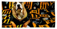 Pitbull Rescue Dog Football Fanatic Beach Towel