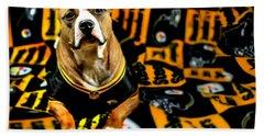 Pitbull Rescue Dog Football Fanatic Beach Sheet by Shelley Neff