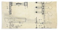 1885 Steinway Piano Pedal Patent Art Beach Towel by Gary Bodnar