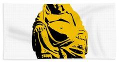 Stencil Buddha Yellow Beach Towel