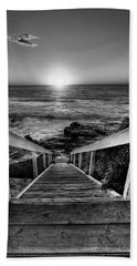 Steps To The Sun  Black And White Beach Towel