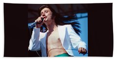 Steve Perry Of Journey At Day On The Green Beach Towel