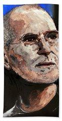 Beach Sheet featuring the painting Steven Paul Jobs by Gordon Dean II