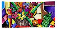Still Life Fruit And Floral Beach Sheet by Everett Spruill