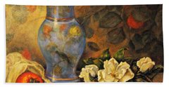 Beach Towel featuring the painting Still Life Of Persimmons  by Donna Tucker