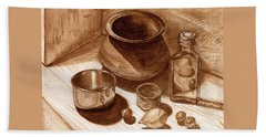 Beach Sheet featuring the painting Still Life Walnut Ink by Mukta Gupta