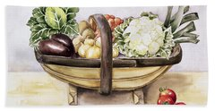 Still Life With A Trug Of Vegetables Beach Towel by Alison Cooper