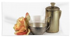 Still Life With Old Cup Rose And Coffe Pot Beach Towel