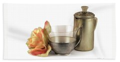 Still Life With Old Cup Rose And Coffe Pot Beach Sheet by Raffaella Lunelli