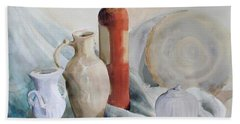 Watercolor Still Life With Pottery And Stone Beach Towel