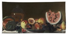 Still Life With Watermelons And Carafe Of White Wine Beach Towel
