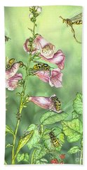 Stinging Insects In Garden Scene Beach Towel