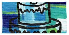 Stl250 Birthday Cake Blue And Green Small Abstract Beach Towel by Genevieve Esson
