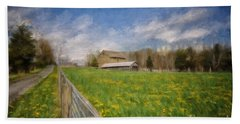 Stone Barn On A Spring Morning Beach Towel