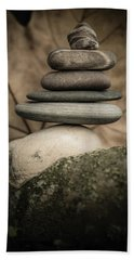 Stone Cairns Iv Beach Sheet by Marco Oliveira