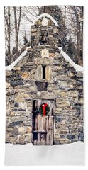 Stone Chapel In The Woods Trapp Family Lodge Stowe Vermont Beach Sheet by Edward Fielding