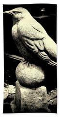 Stone Crow On Stone Ball Beach Towel by Kathy Barney