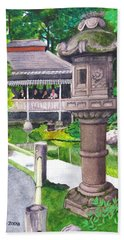 Stone Lantern Beach Towel by Mike Robles
