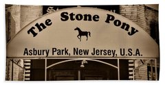 Stone Pony Enter Here Beach Sheet by Paul Ward