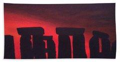 Stonehenge At Dusk Beach Towel