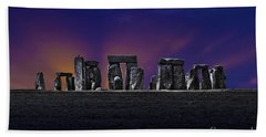 Beach Towel featuring the photograph Stonehenge Looking Moody by Terri Waters
