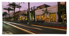 Stores On The Roadside, Rodeo Drive Beach Towel by Panoramic Images