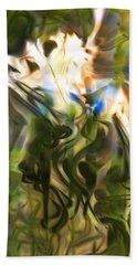 Beach Towel featuring the digital art Stork In The Music Garden by Richard Thomas