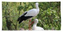 Storks Nesting Beach Sheet