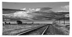 Storm Cloud Above Rail Road Tracks Beach Sheet