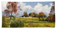 Beach Towel featuring the photograph Storm Clouds Over Country Landscape by Christina Rollo