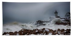 Storm Off Eastern Point Lighthouse Beach Towel