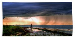 Storm On The Bay Beach Sheet