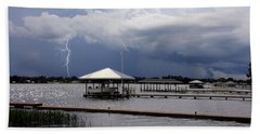 Storm Over Clay Lake Beach Sheet by Rosalie Scanlon