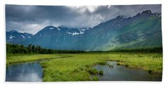 Storm Over The Mountains Beach Towel