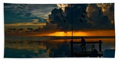 Sunset Tropical Storm And Watcher In Florida Keys Beach Towel