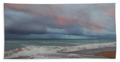 Beach Towel featuring the painting Storms Comin' by Mim White
