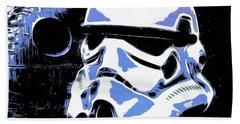 Stormtrooper Helmet And Death Star Beach Towel