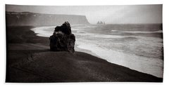 Stormy Day At Dyrholaey Beach Towel