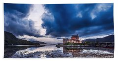 Stormy Skies Over Eilean Donan Castle Beach Towel