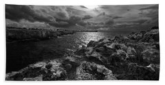 Blank And White Stormy Mediterranean Sunrise In Contrast With Black Rocks And Cliffs In Menorca  Beach Towel