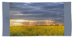 Stormy Sunset Over Rapeseed Fields Beach Towel