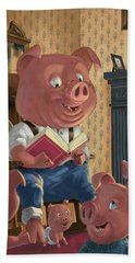 Story Telling Pig With Family Beach Towel by Martin Davey