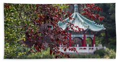 Stow Lake Pavilion Beach Towel by Kate Brown