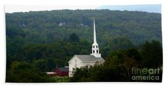 Beach Towel featuring the photograph Stowe Community Church by Patti Whitten