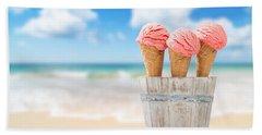Strawberry Ice Creams Beach Towel by Amanda Elwell
