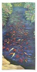 Beach Towel featuring the painting Stream Of Koi by Karen Zuk Rosenblatt