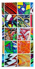 Street Art Patchwork Beach Towel by Art Block Collections