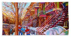 Street Hockey Game In Montreal Winter Scene With Winding Staircases Painting By Carole Spandau Beach Towel