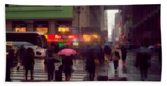 Street Scene - Seventh Avenue - New York Beach Towel